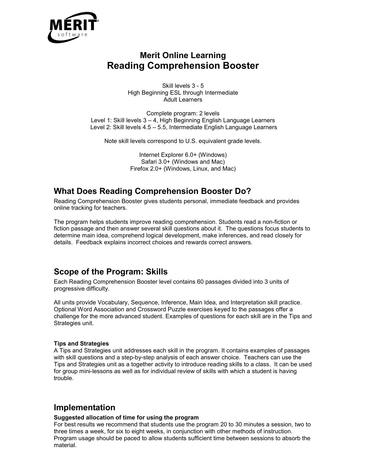 - Reading Comprehension Booster
