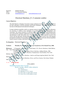 Electric Machinery II - Department of Electrical Engineering