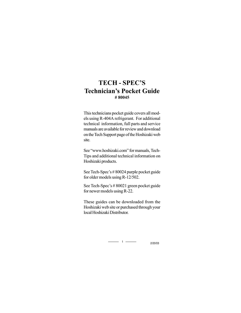 Tech spec`s technician`s pocket guide.