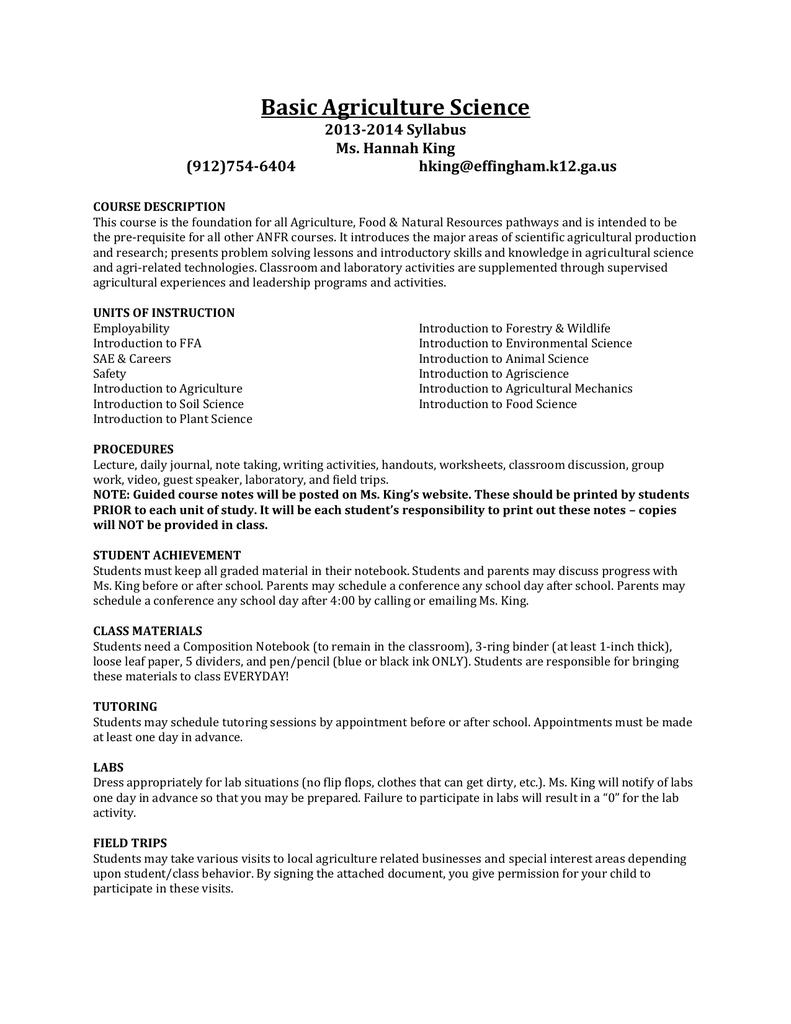 Basic Ag Syllabus - Effingham County Schools