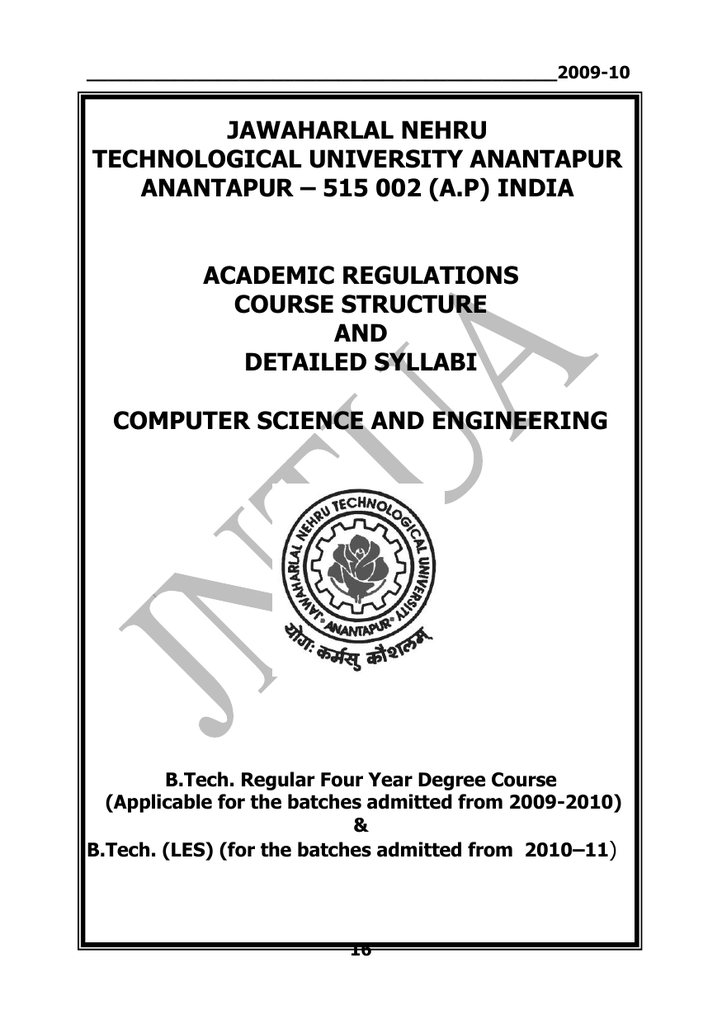 B Tech - R09 - CSE - Academic Regulations - JNTU
