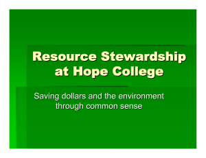 Resource Stewardship at Hope College