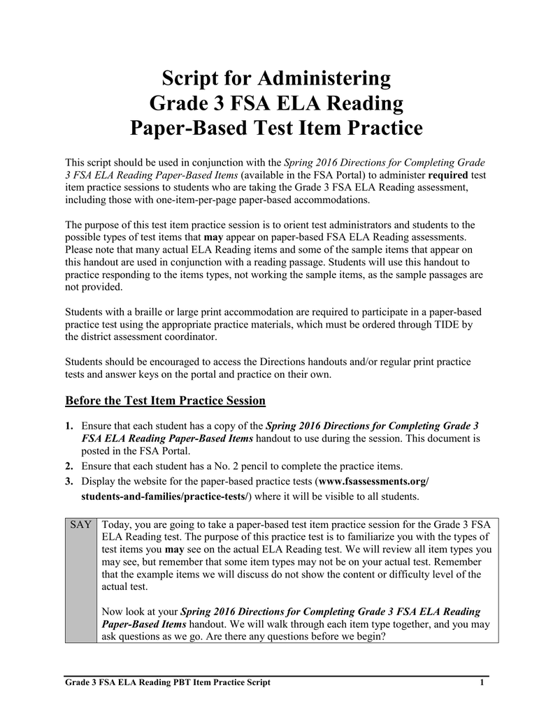 Script for Administering Grade 3 FSA ELA Reading Paper