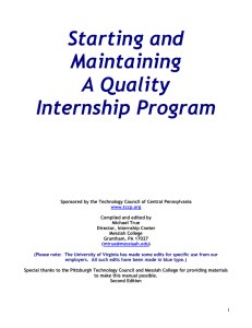 Starting and Maintaining A Quality Internship Program