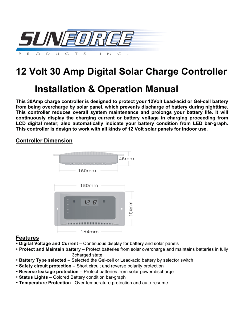 12 Volt 30 Amp Digital Solar Charge Controller Installation And Battery Low Voltage Protection Short Circuit Protectionin Car