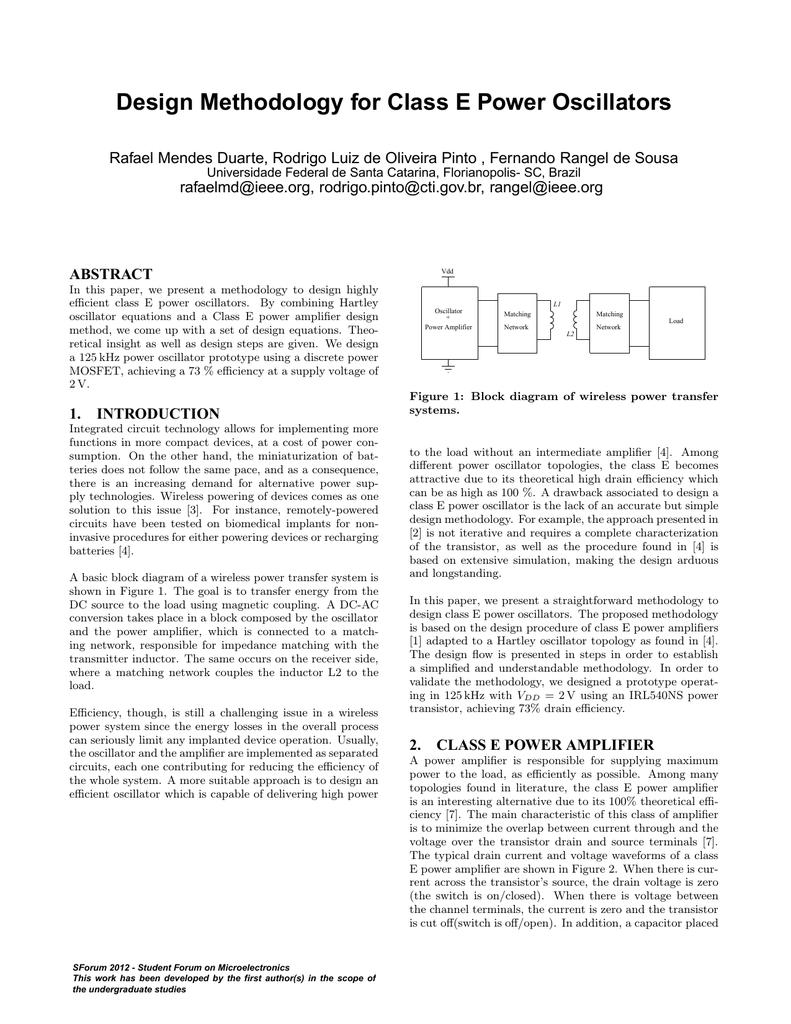 Design Methodology For Class E Power Oscillators Block Diagram Equations 018411881 1 8fa8ff24b3098e3faf7c10290de3936f