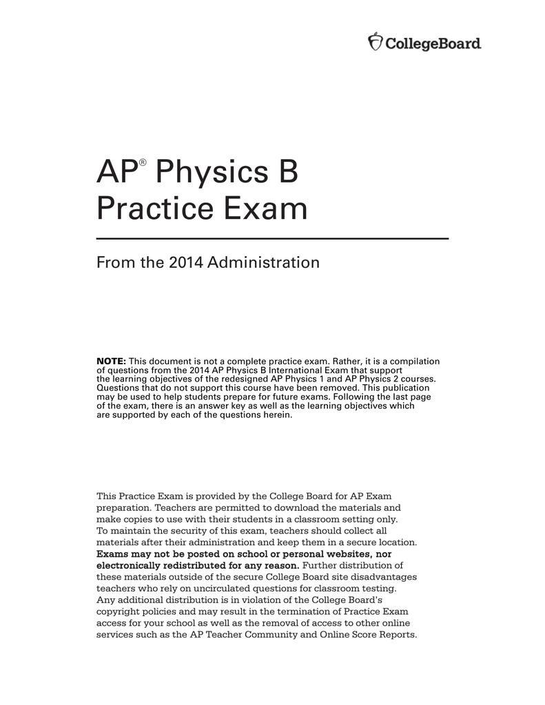 AP Physics B Practice Exam
