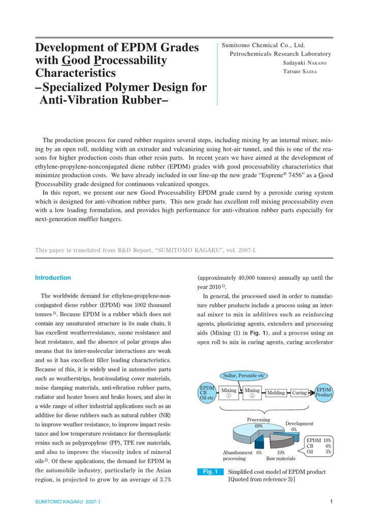 Development of EPDM Grades with Good Processability