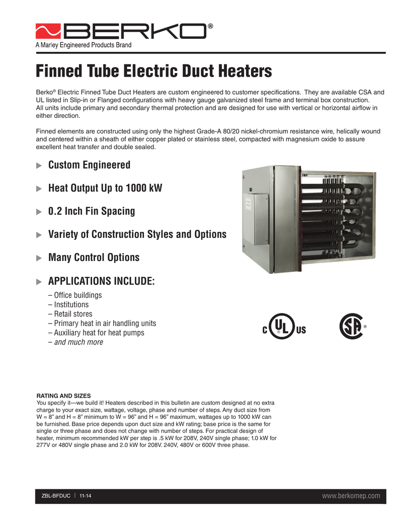 Sales Flyer Marley Engineered Products Electric Heater Wiring Diagram