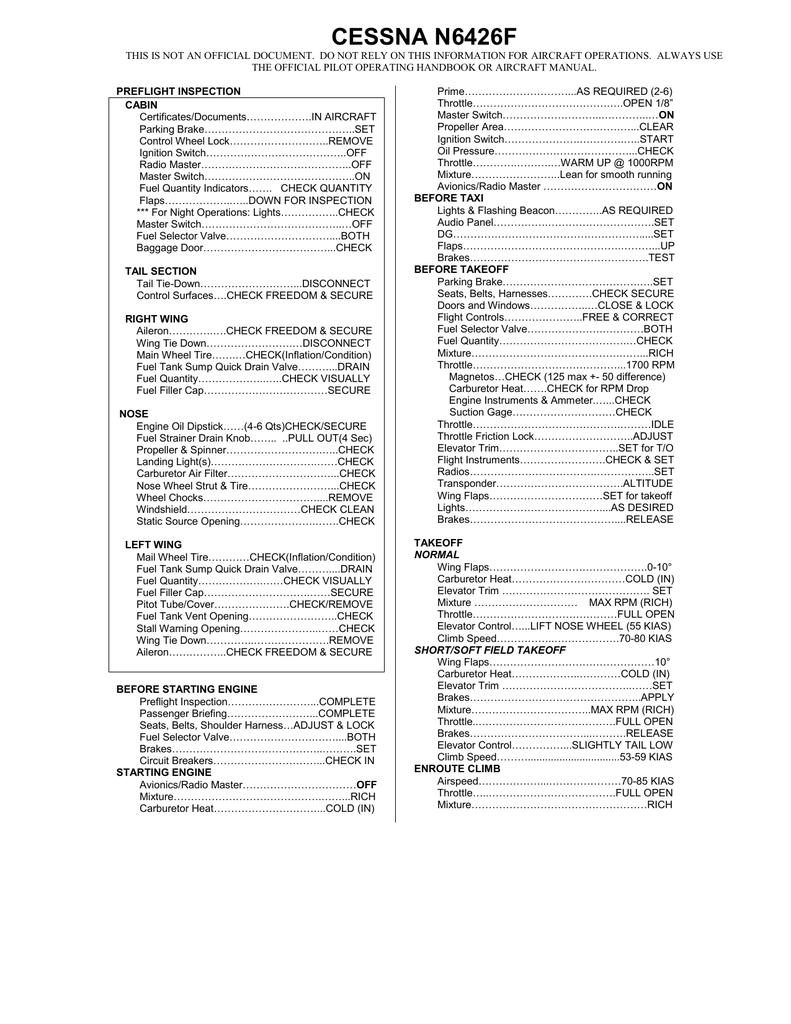 Checklist - Indiana Pilots Club, Inc