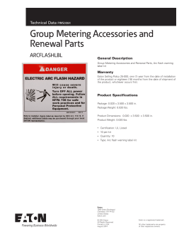 Group Metering Accessories and Renewal Parts