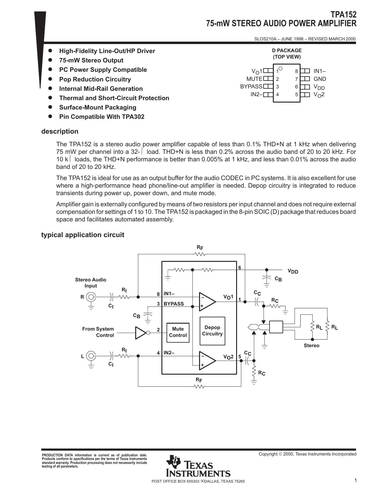 1X TPA152  75-mW STEREO AUDIO POWER AMPLIFIER