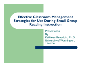 Effective Classroom Management Strategies for Use During Small