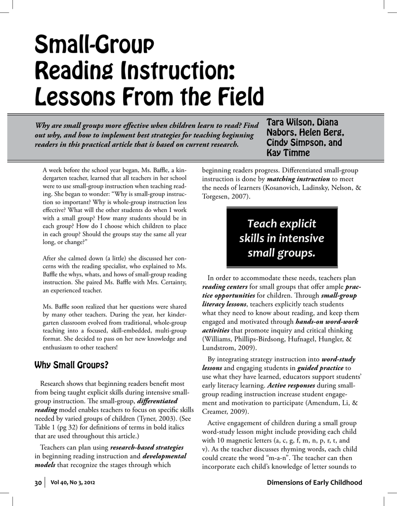 Small Group Reading Instruction Lessons From The Field
