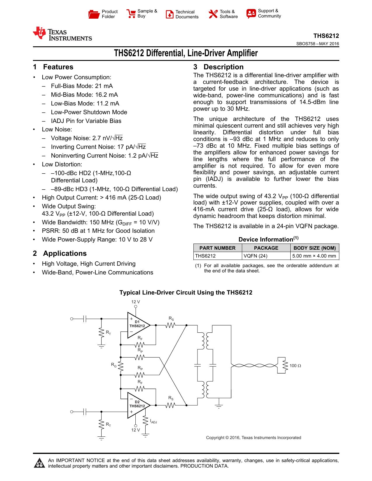 Differential Line Driver Amplifier Representative Schematic Of A Currentfeedback Opamp Or