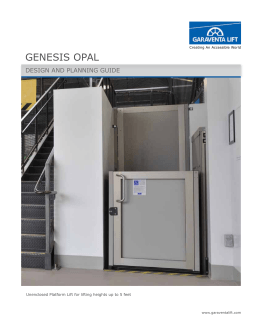Genesis enclosure model design and planning guide for Garaventa lifts
