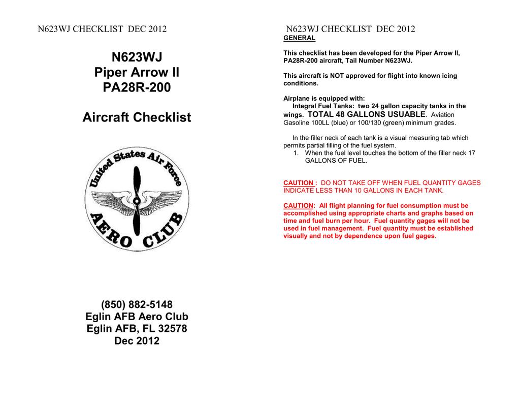 N623WJ Piper Arrow II PA28R-200 Aircraft Checklist