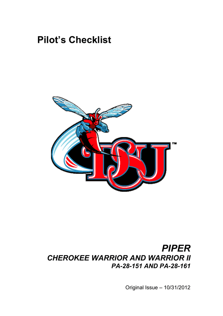 Cherokee Warrior Checklist