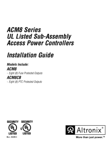 ACM8 Series UL Listed Sub-Assembly Access Power