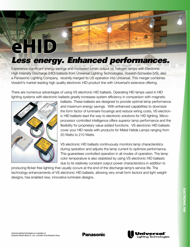 Universal M7012ck 6eun F Electronic Hid Ballast Brochure Creating An With Constant Lamp Power Control