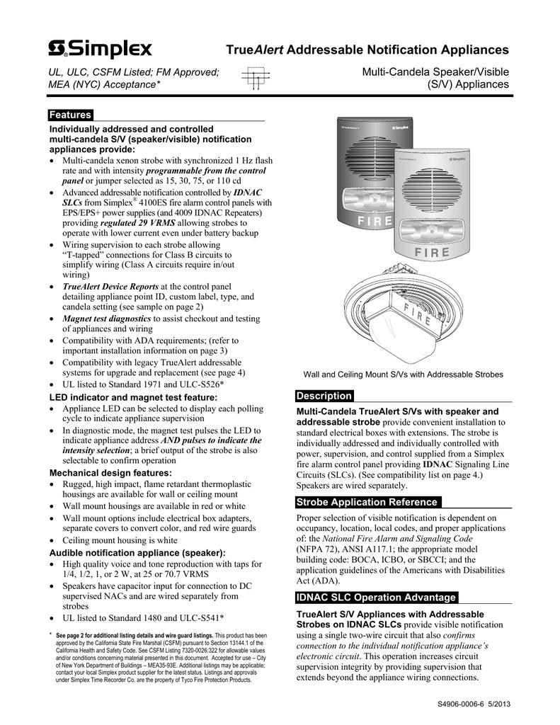 Truealert Addressable Notification Appliances Simplex Controller Wiring Diagram 018414468 1 7189c52ce5c364487dce43c03e44f001