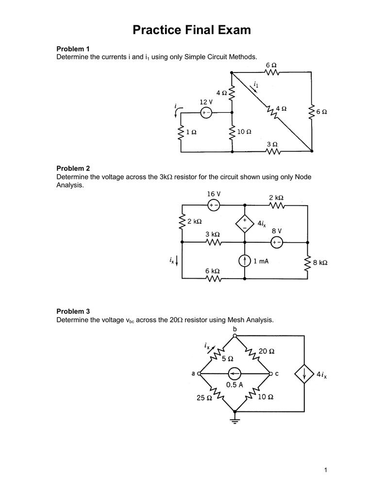 Practice Final Exam 1 Circuit Diagram