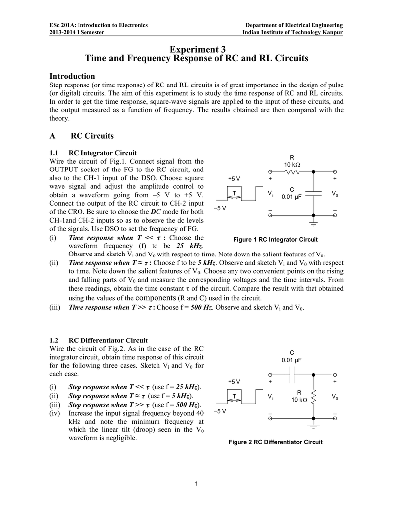 experiment 3 time and frequency response of rc and rl circuits