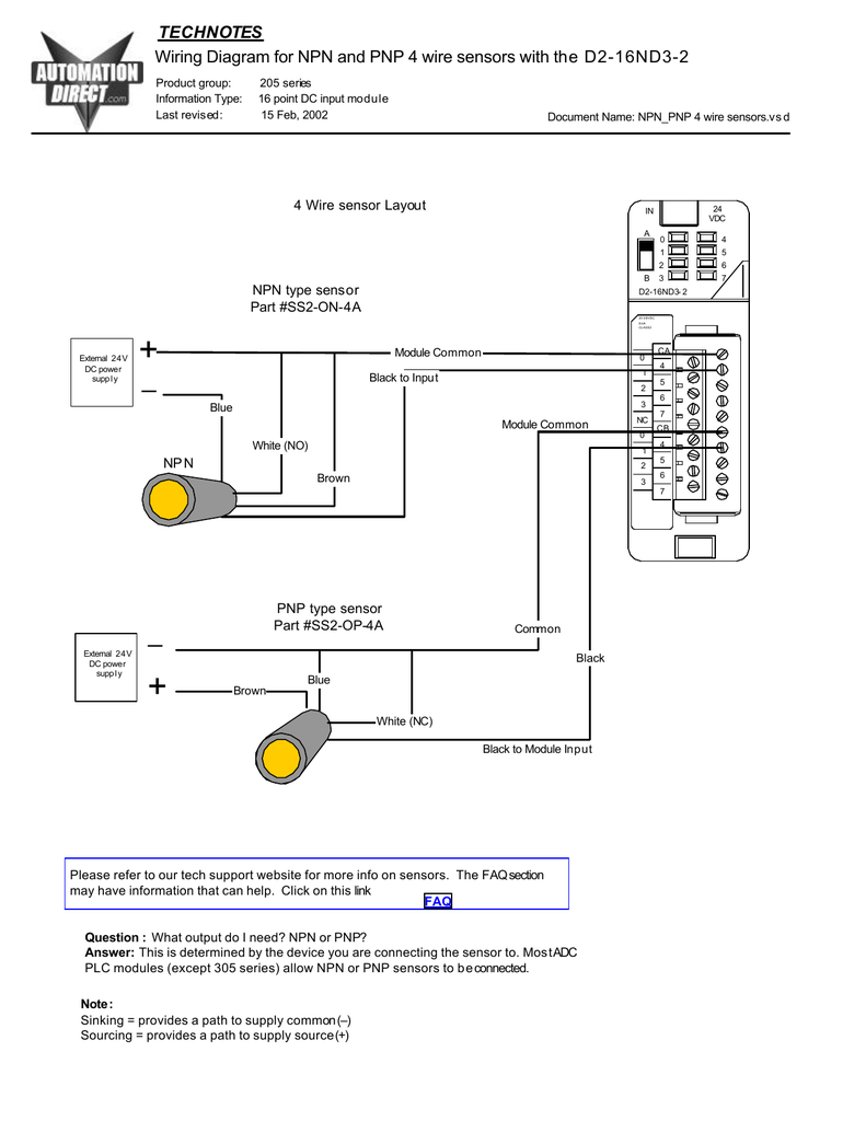 Wiring diagram for NPN and PNP 4 wire sensors and D2-16ND3-2