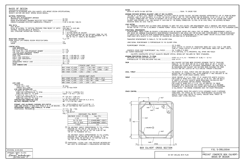 BASIS OF DESIGN BOX CULVERT CROSS SECTION FIG  5