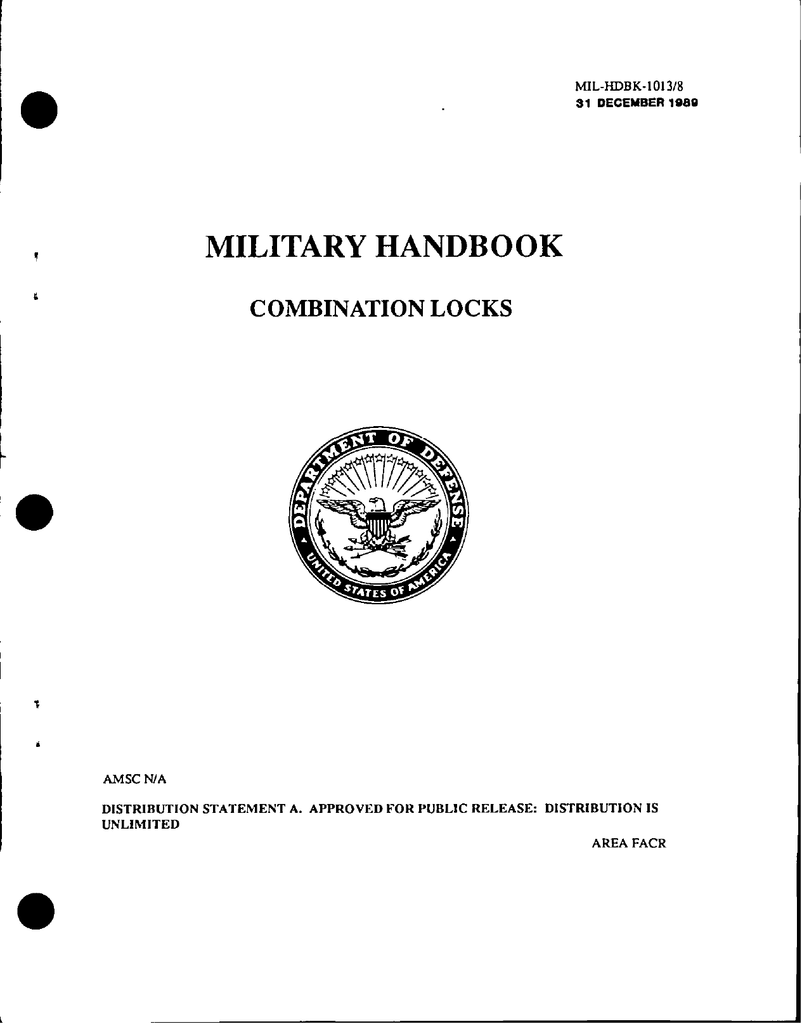 Military Handbook Combination Locks