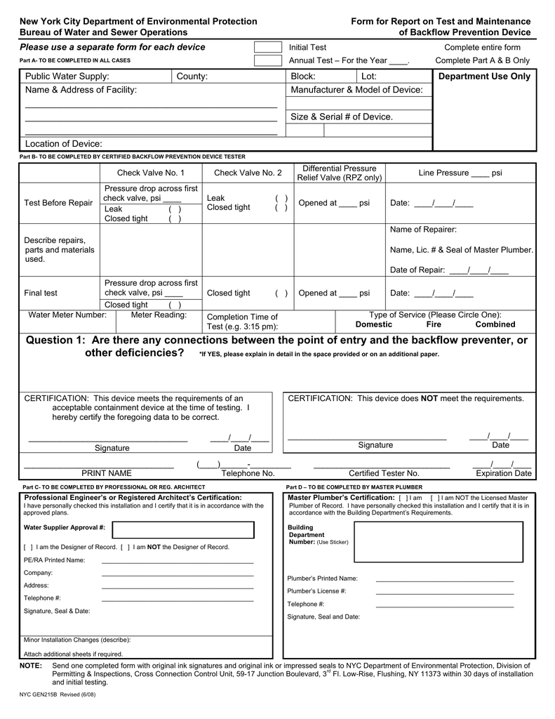 Form For Report On Test And Maintenance Of Backflow