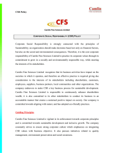 CSR Policy - Camlin Fine Sciences