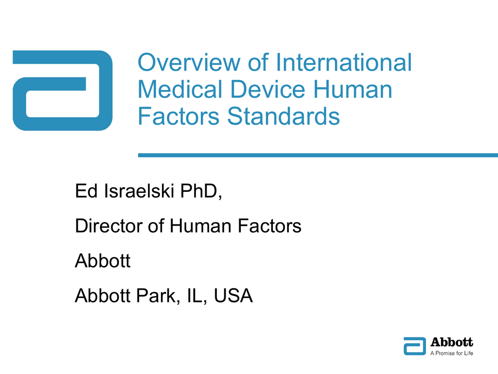 Overview Of International Medical Device Human Factors Standards