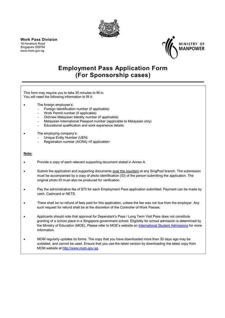 Employment Pass Application Form For