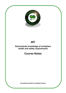 497 Demonstrate knowledge of workplace health and