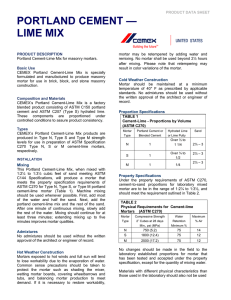 portland cement — lime mix