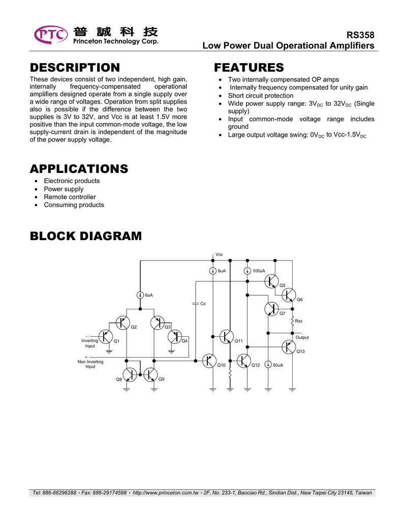 Description Applications Features Block Diagram Inverting Amplifier