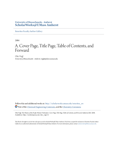A. Cover Page, Title Page, Table of Contents, and Forward