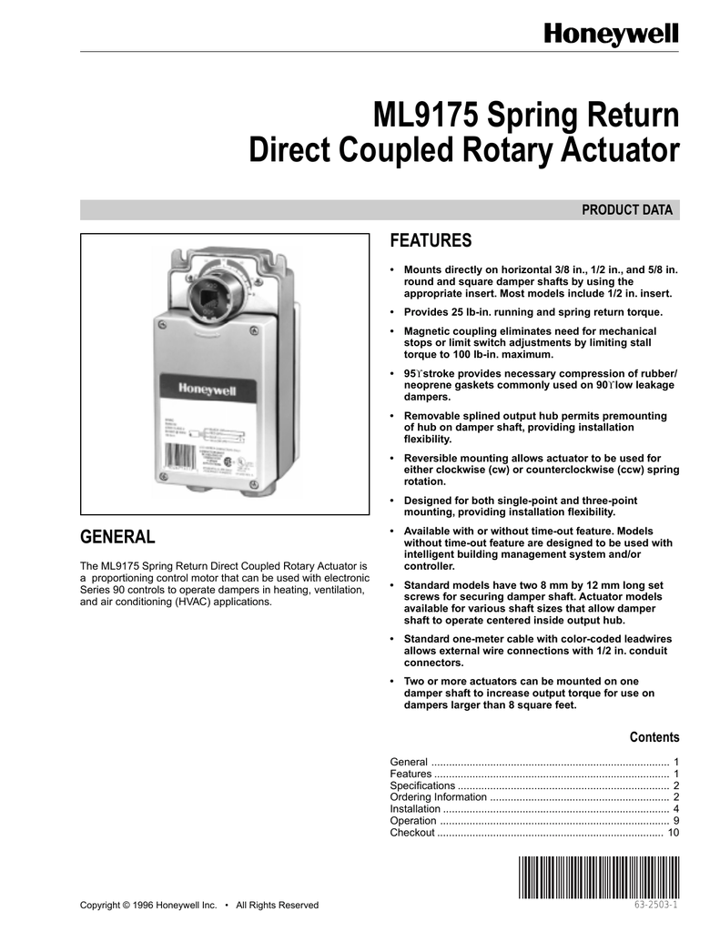 Ml9175 Spring Return Direct Coupled Rotary Actuator. 01841874615d379302d9b252ceb26f306f7d7bfb82. Wiring. Honeywell Direct Coupled Actuator Wiring Diagram At Scoala.co