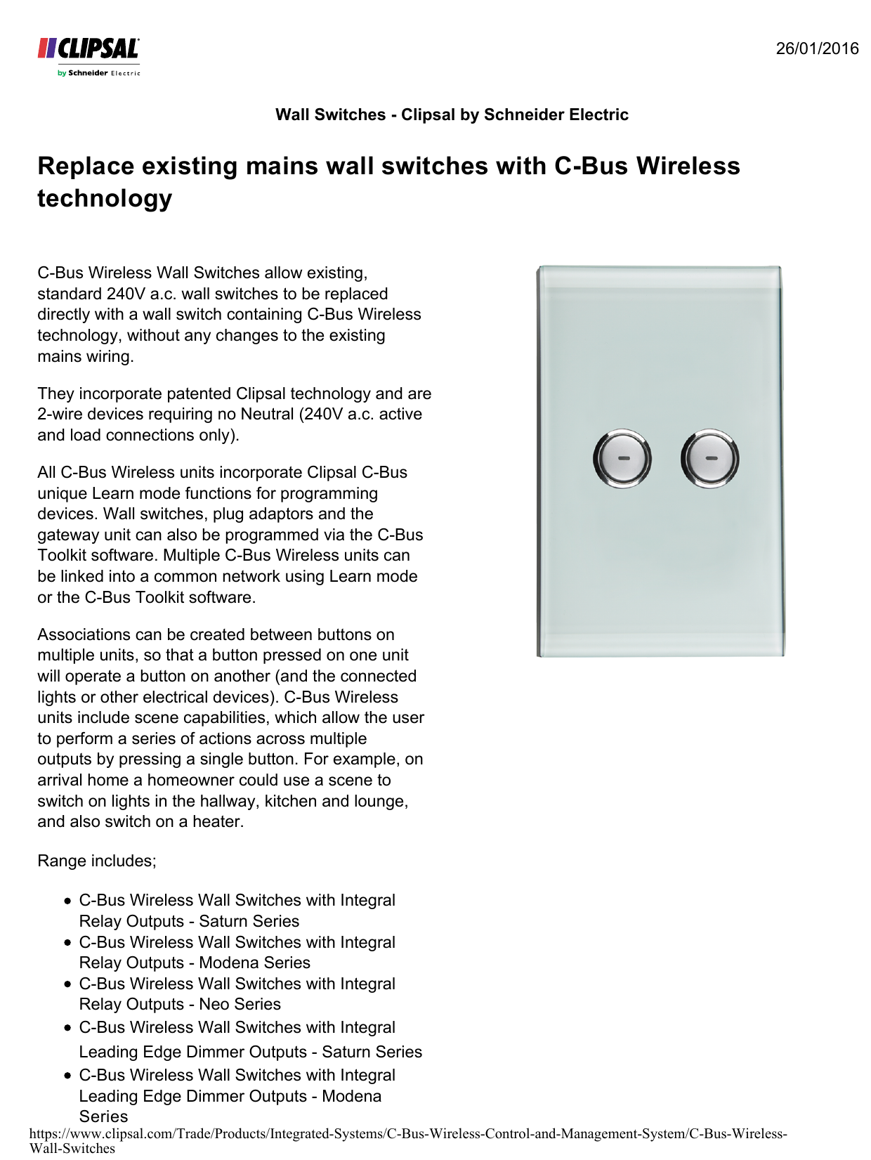 Replace existing mains wall switches with C-Bus Wireless