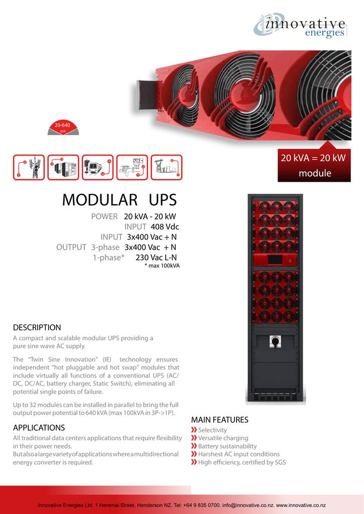 20kVA UPS Module - 2 page data sheet