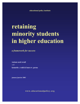 Retaining Minority Students in Higher Education