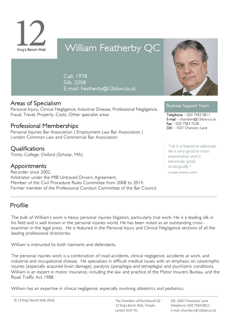 William Featherby Qc 12 Kings Bench Walk