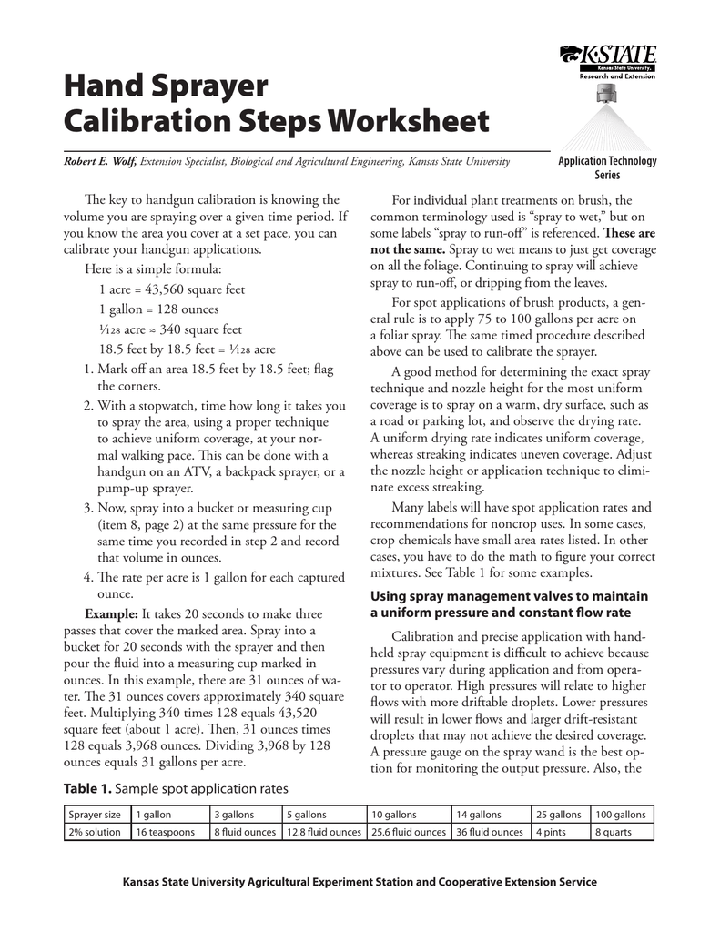 Worksheets Sprayer Calibration Worksheet hand sprayer calibration steps worksheet