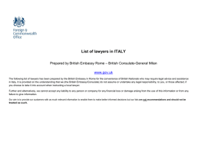 Italy - List of English-speaking lawyers