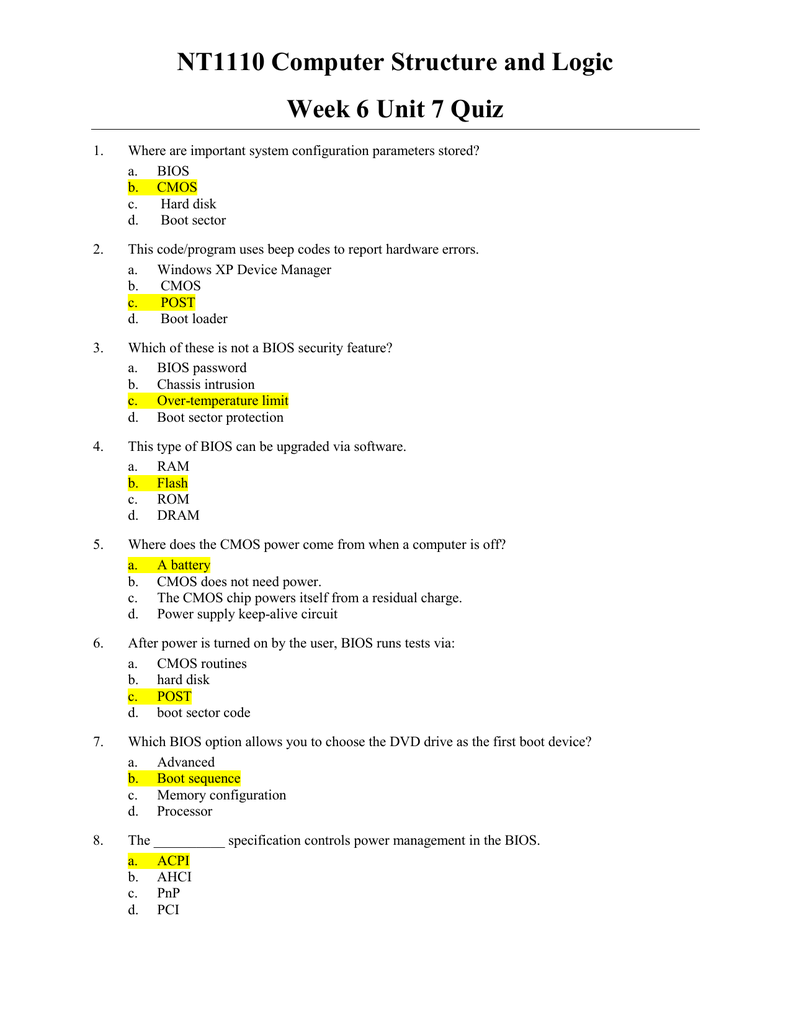 Nt1110 Computer Structure And Logic Week 6 Unit 7 Quiz