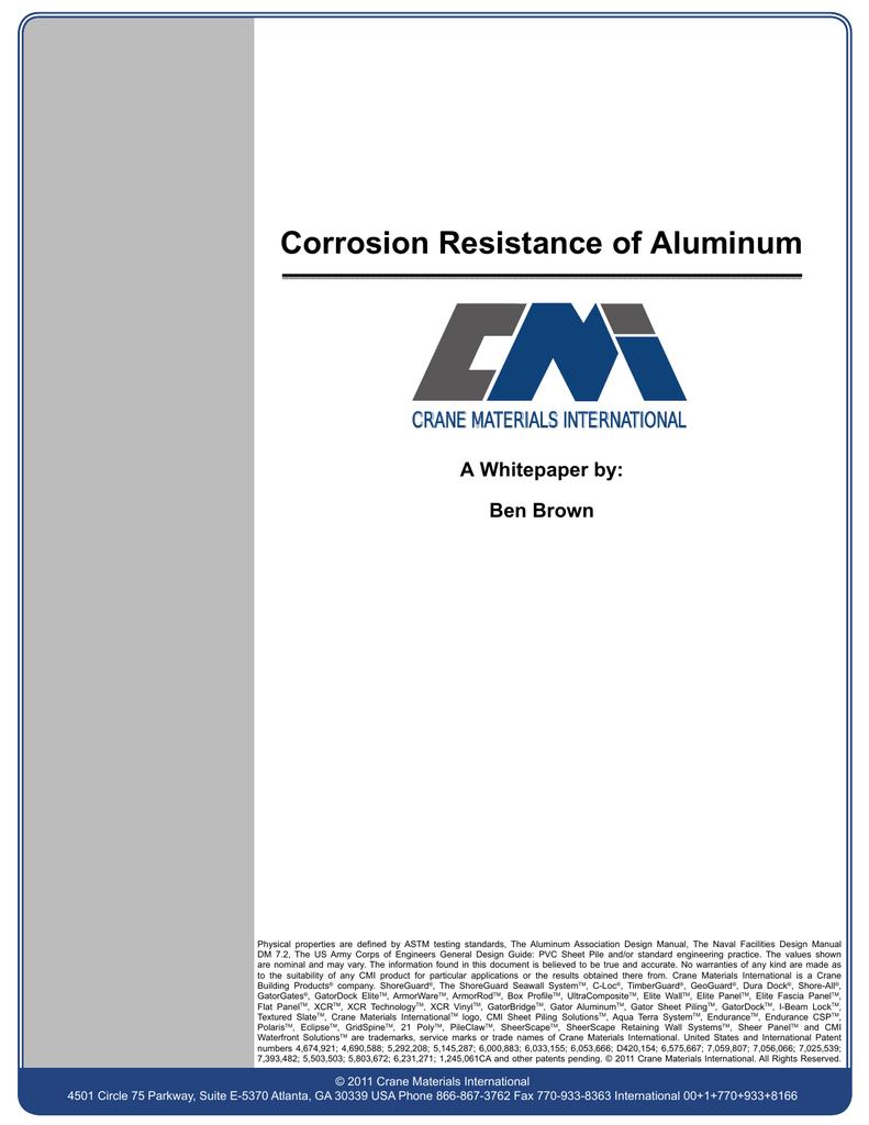 Corrosion Resistance of Aluminum