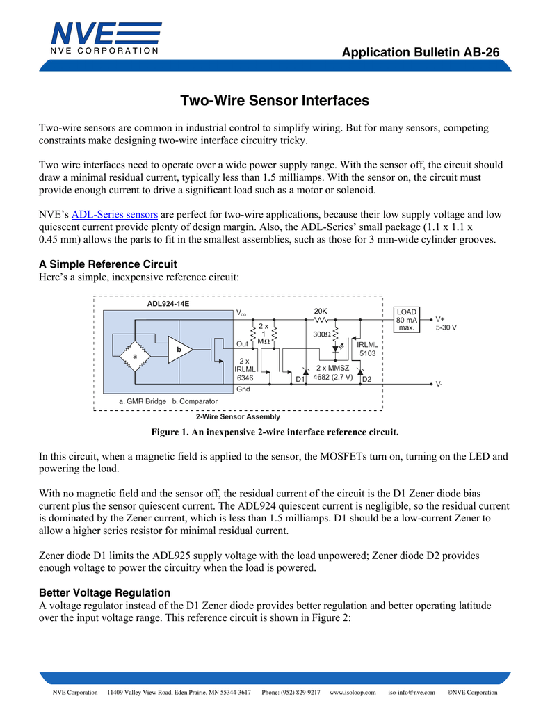 2 wire sensor interfaces