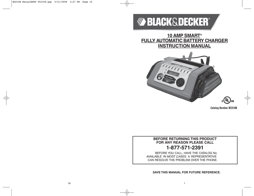 10 Amp Smart Fully Automatic Battery Charger Instruction Manual