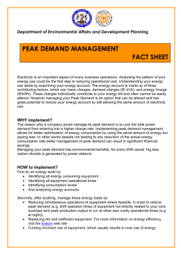 peak demand management fact sheet